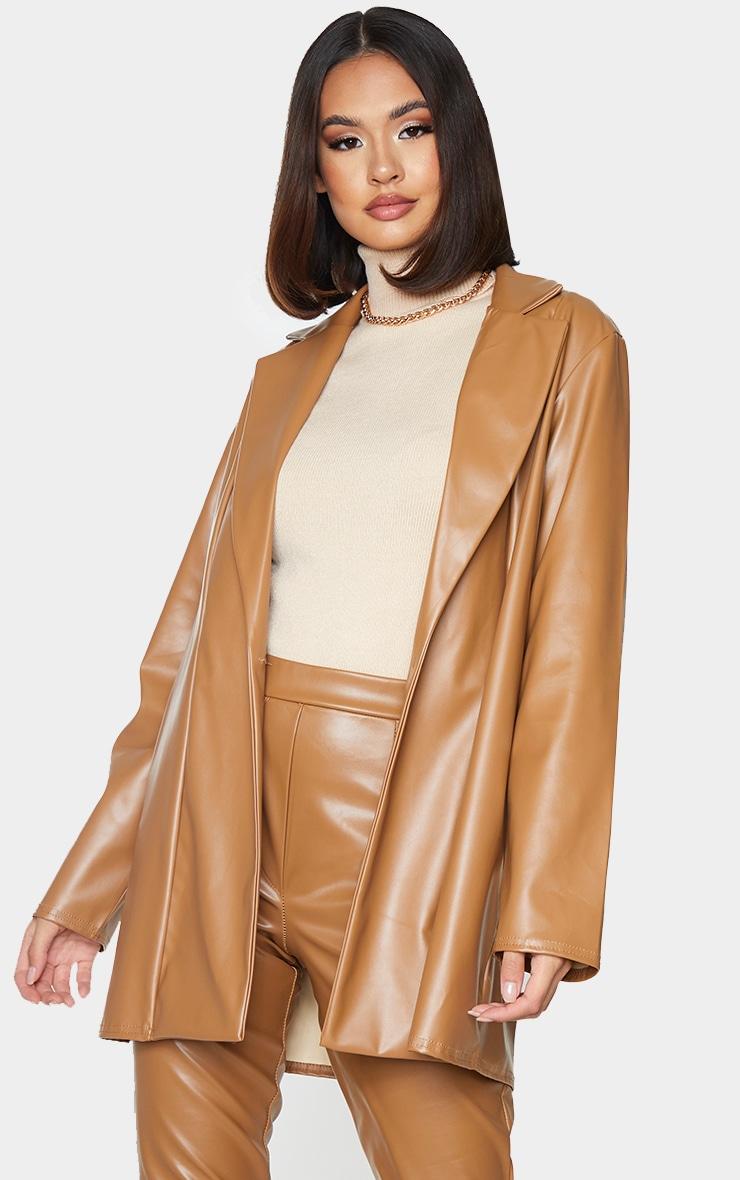 Tan Longline Lapel Detail Faux Leather Blazer 1