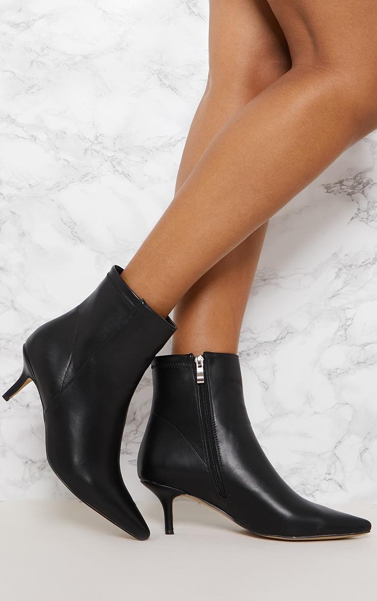 Black Low Heel Ankle Boot 2