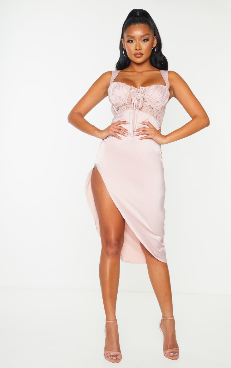 Mauve Lace Bodice Sleeveless Ruched Midi Dress 1