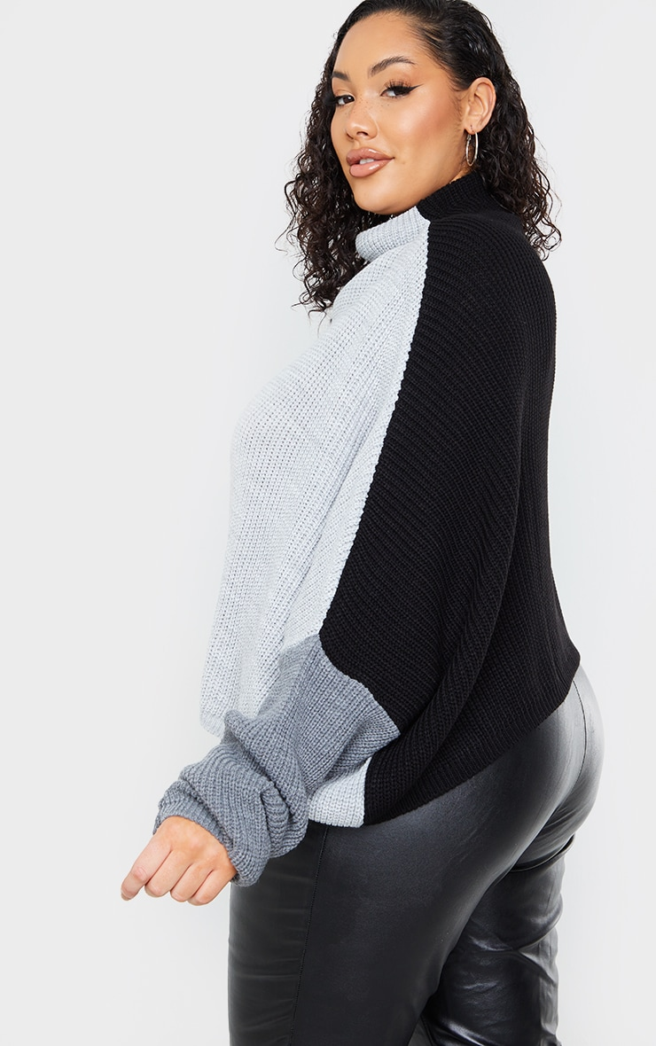 Plus Black Oversized Colour Knitted Block Jumper 2