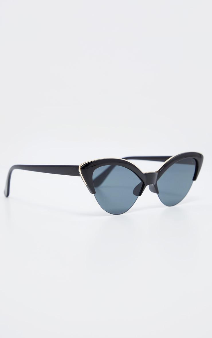 Black Frame Gold Metal Edge Pointed Cat Eye Sunglasses        3