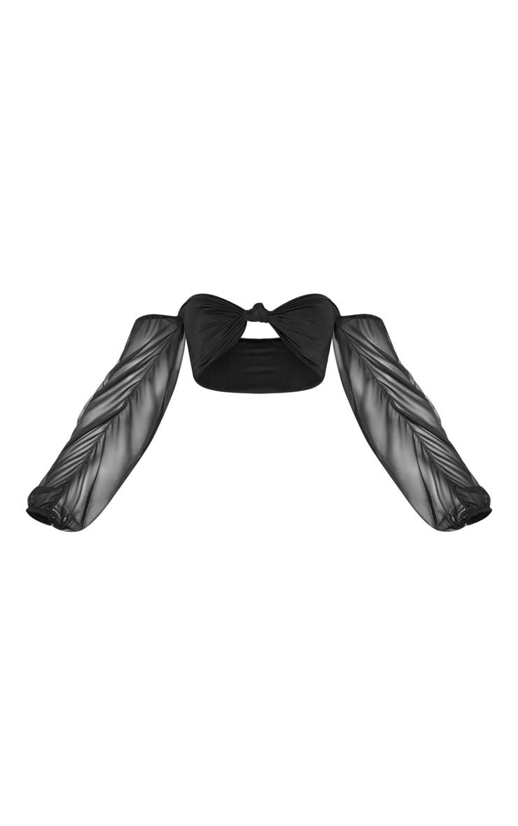 Black Puff Sleeve Strapless Bikini Top 1
