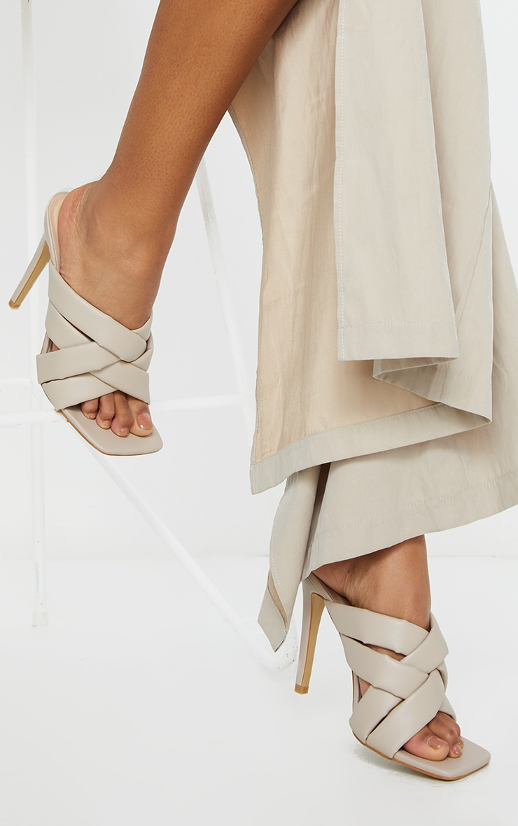 Cream Quilted Woven Strap High Mule Heels 1