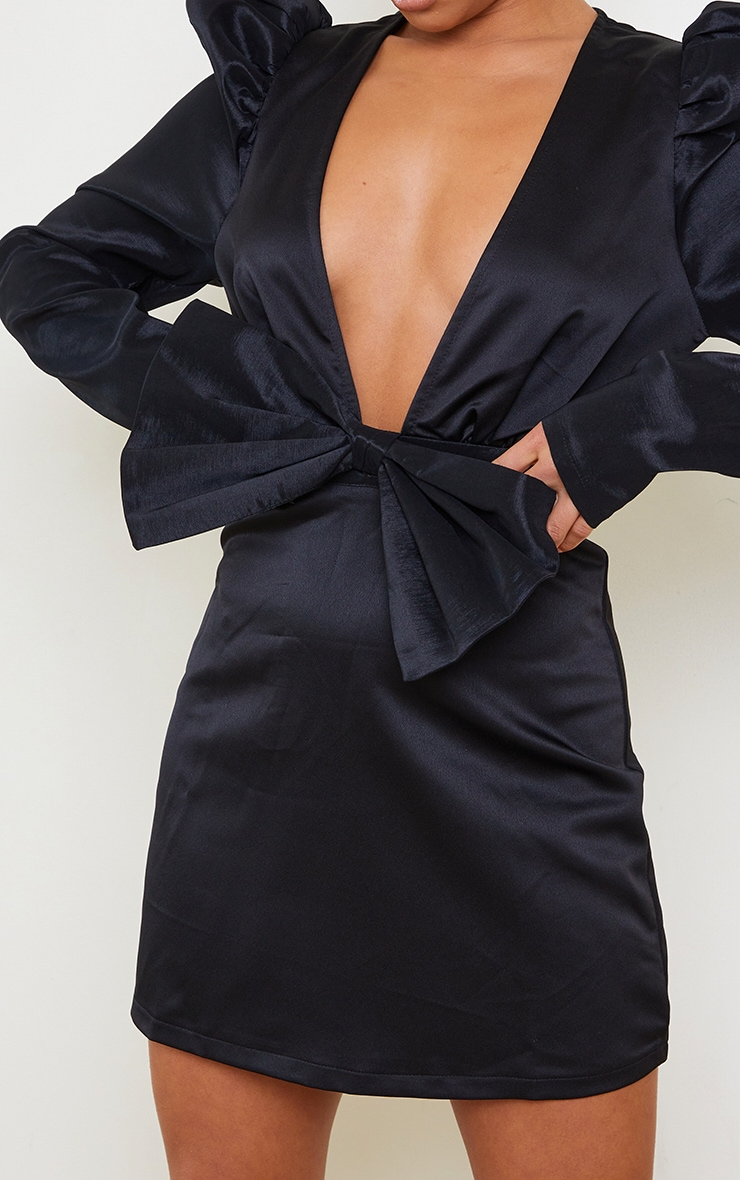 Petite Black Satin Puff Shoulder Bow Detail Dress 4