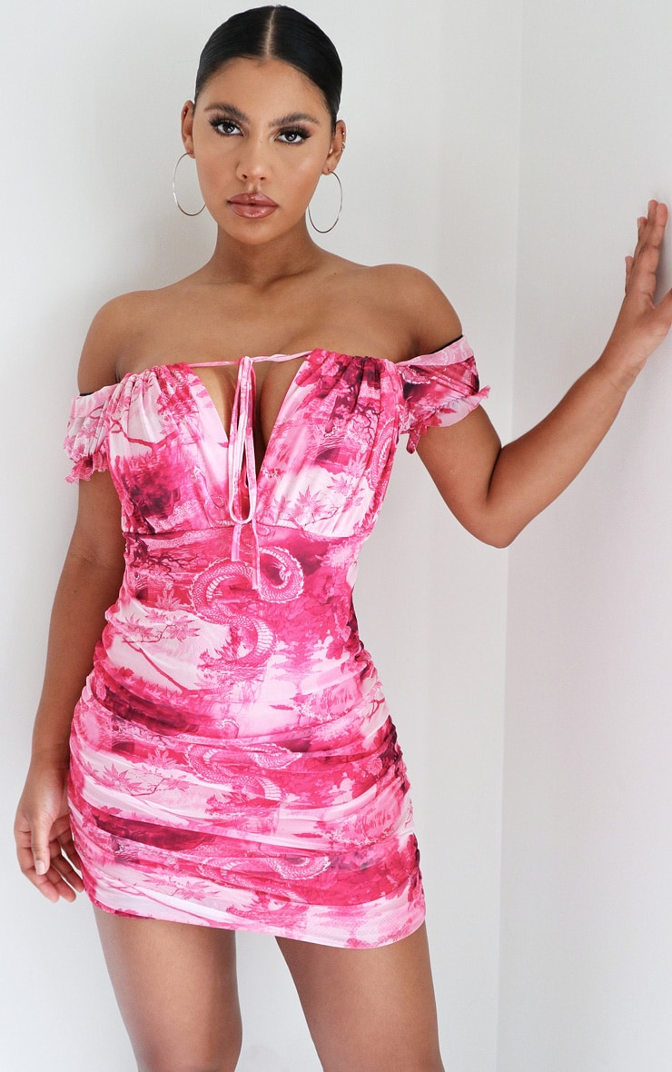 Pink Dragon Print Ruched Side Bodycon Dress 1