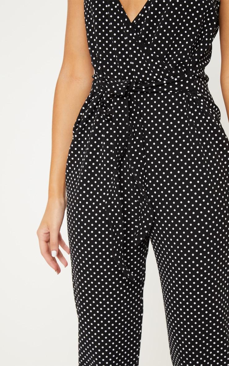 Black Polka Dot Strappy Plunge Jumpsuit 5