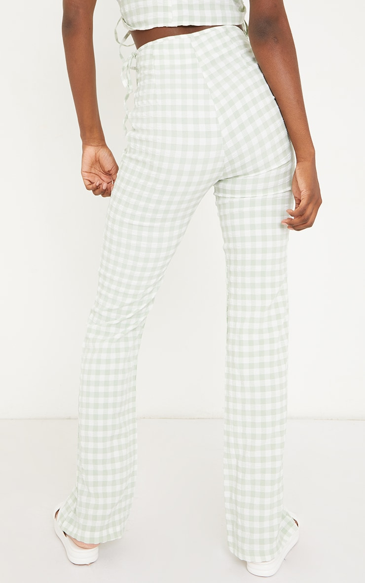Tall Green Gingham Tie Side Trousers 3