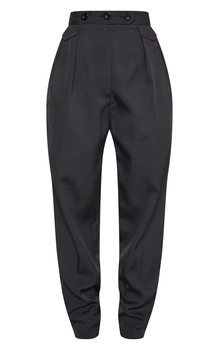Black Tapered Button Front Pants 3