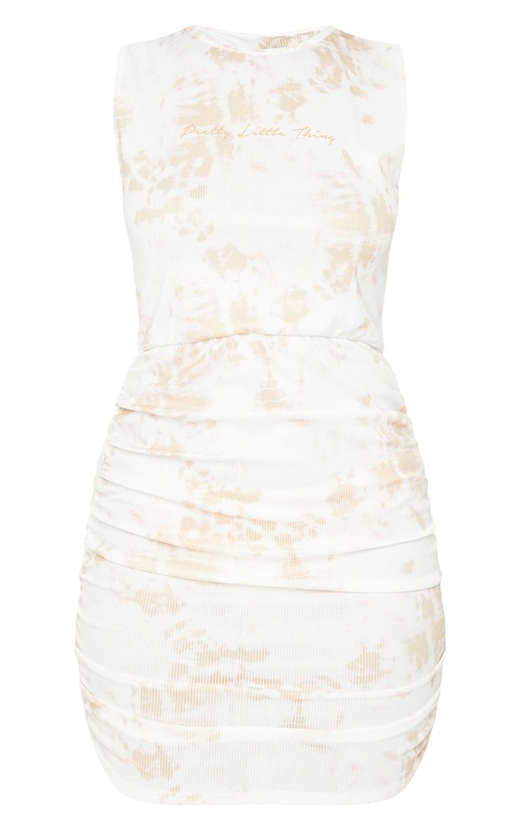 PRETTYLITTLETHING Stone Tie Dye Ruched Rib Bodycon Dress 5
