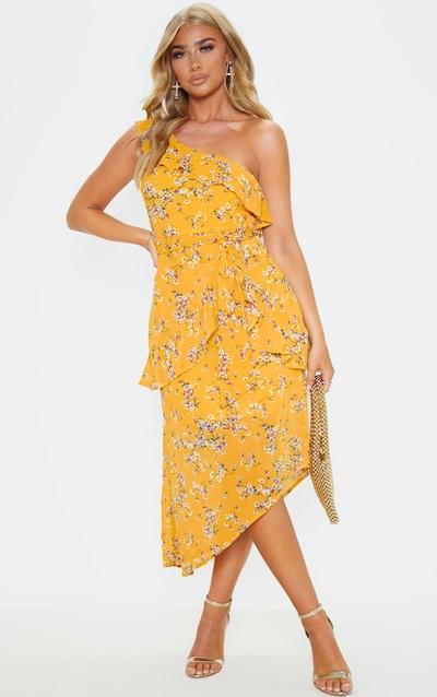 Yellow Floral Print Chiffon One Shoulder Midi Dress