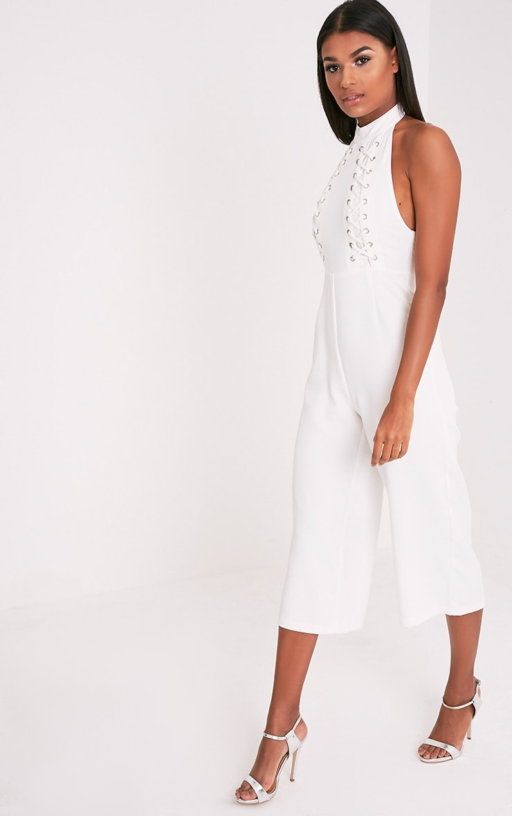 Stephanie White Lace up Cullote Jumpsuit 4