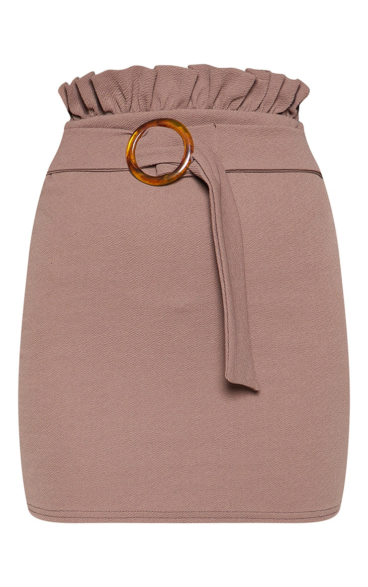 Mocha Tortoiseshell O Ring Belt Paperbag Mini Skirt 3