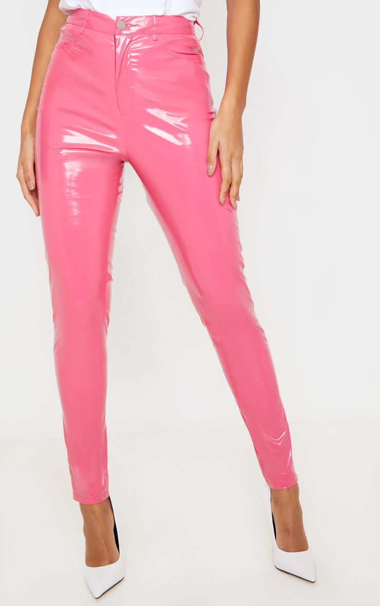 Hot Pink Button Front Vinyl Skinny Pants 2