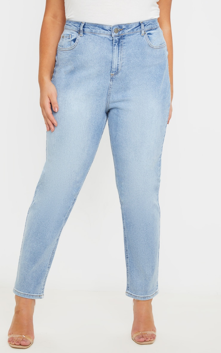Plus Light Wash High Waist Straight Leg Jeans 2