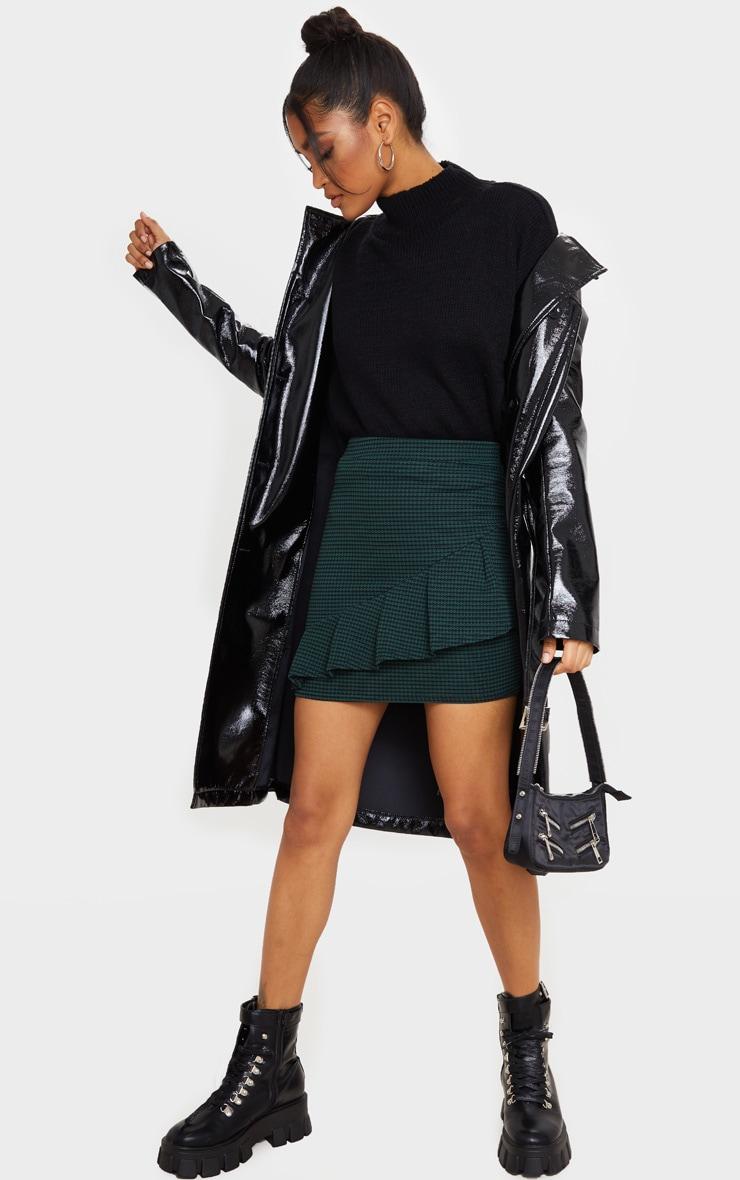 Emerald Green Jacquard Ruffle Mini Skirt 1