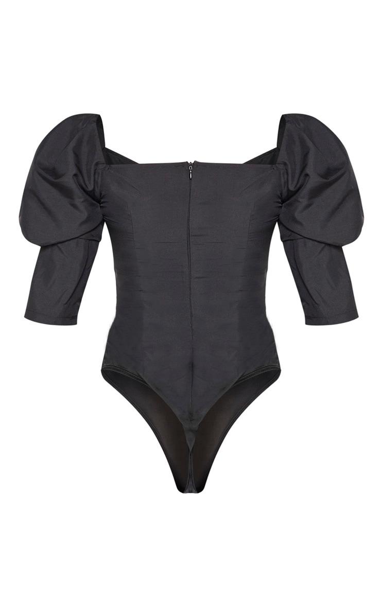 Black Woven Puff Sleeve Bodysuit 6