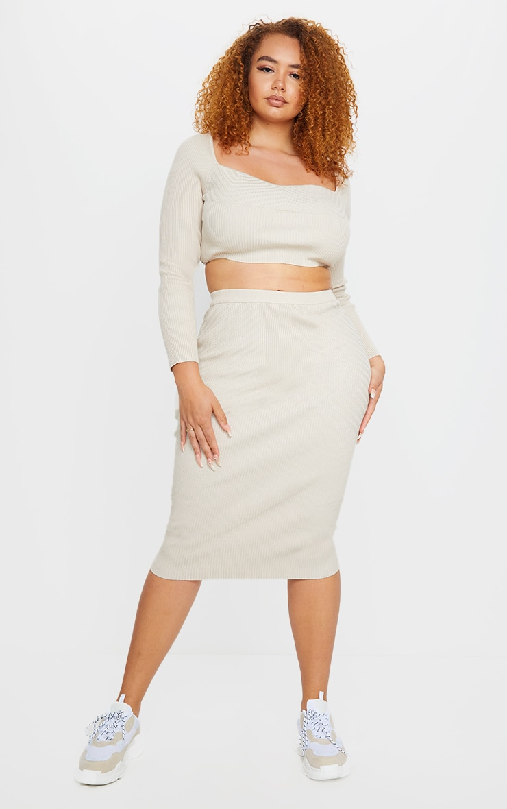 Plus Stone Knit Midi Skirt 1