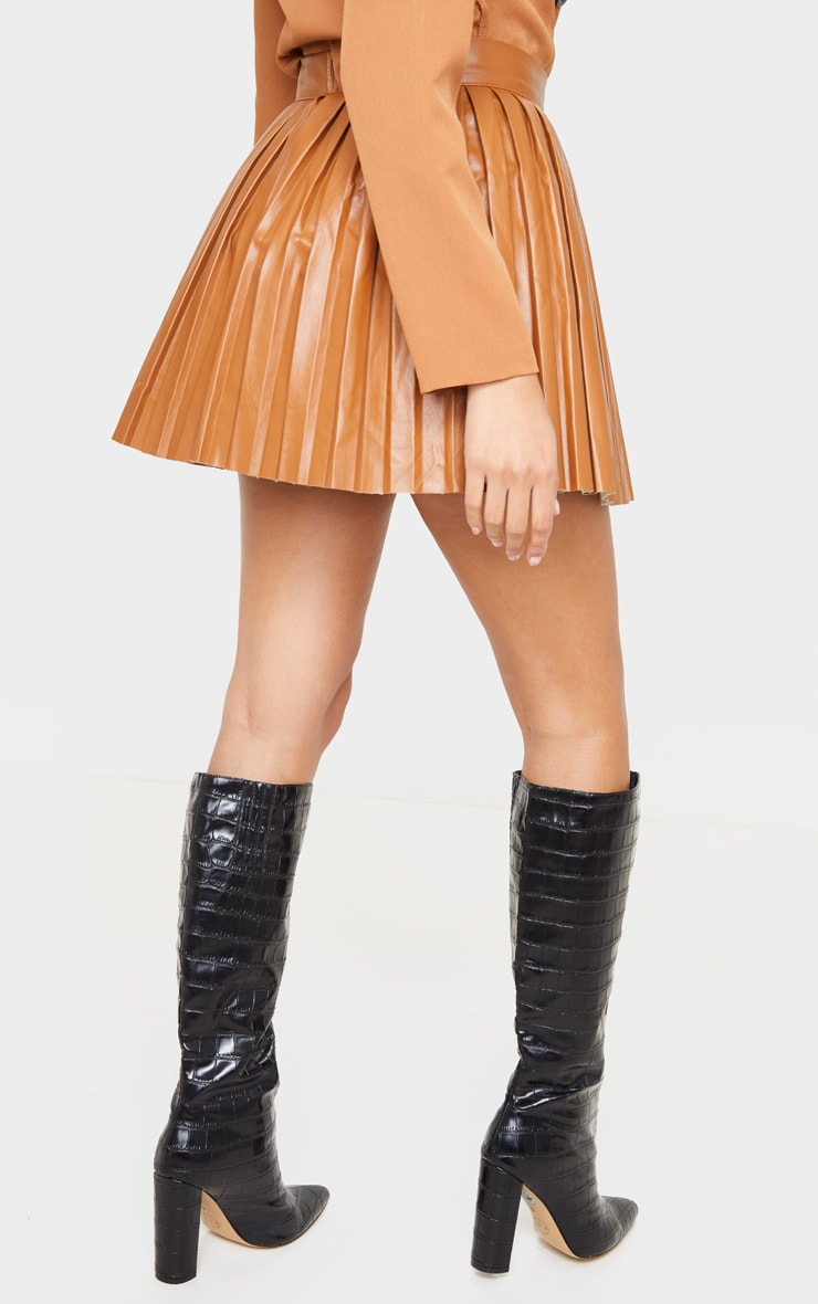 Camel Faux Leather Pleated Skater Skirt 5