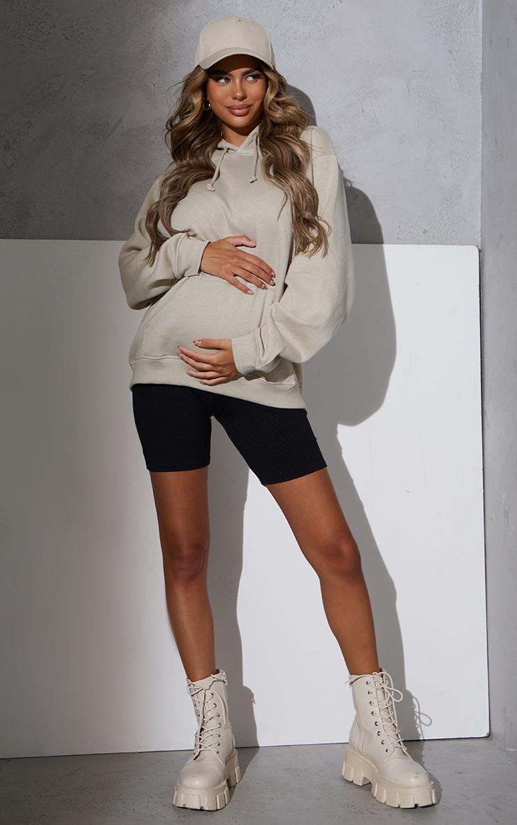 RENEW Maternity Black Ribbed Bike Shorts 1