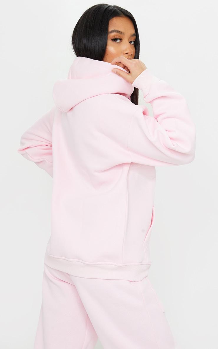 Petite Pink Extreme Oversized Pocket Front Zip Through Hoodie 2