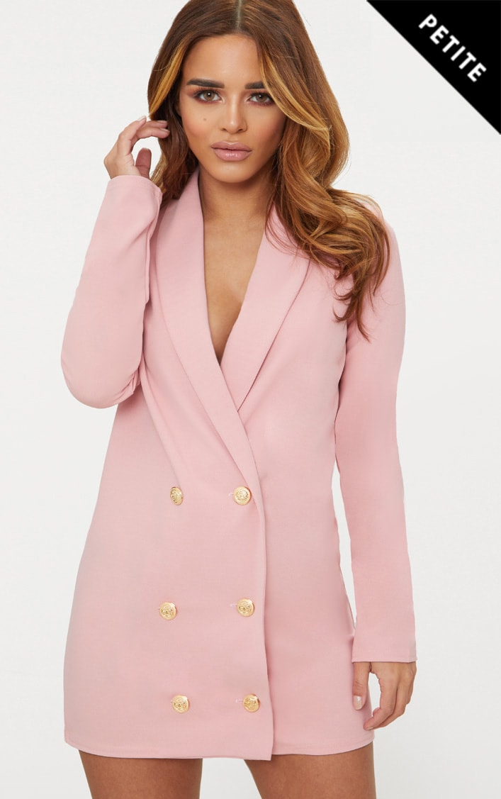 Petite Dusky Pink Gold Button Blazer Dress 1