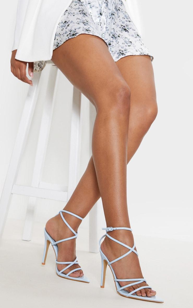 Pastel Blue Tube Strappy Point Toe Sandal 2