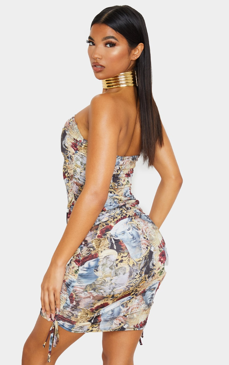 Multi Slinky Renaissance Print Ruched Bandeau Dress 3