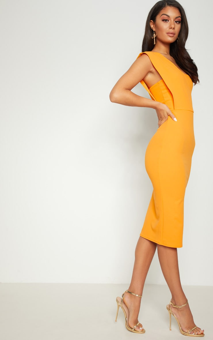 Yellow One Shoulder Draped Midi Dress 4
