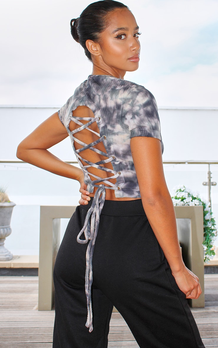 Petite Grey Ribbed Tie Dye Lace Up Back Crop Top 1