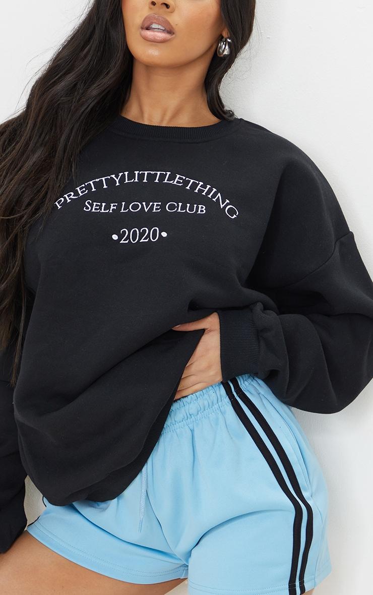 PRETTYLITTLETHING  Black Self Love Club Embroidered Sweatshirt 4