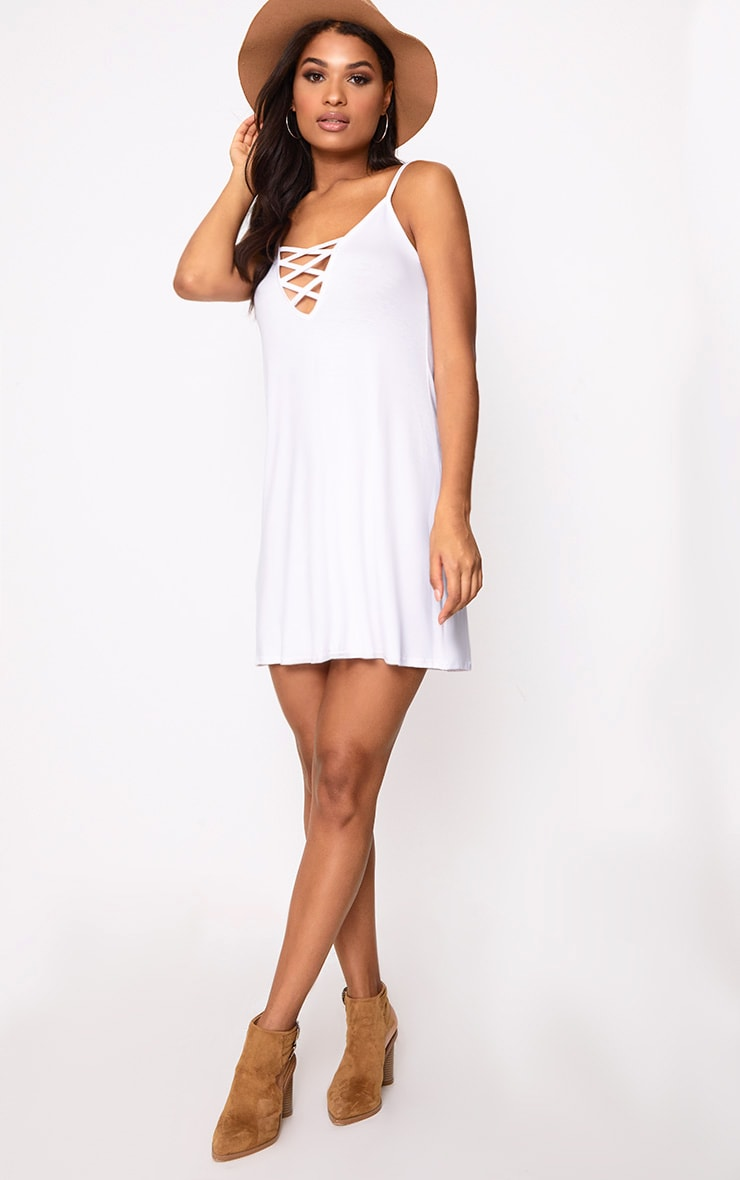 White Jersey Lace Up Front Detail Swing Dress 4