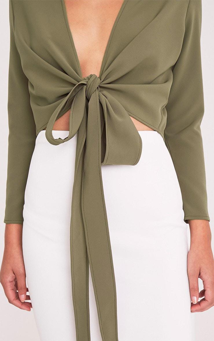Blanche Khaki Tie Front Long Sleeve Crop Blouse 6