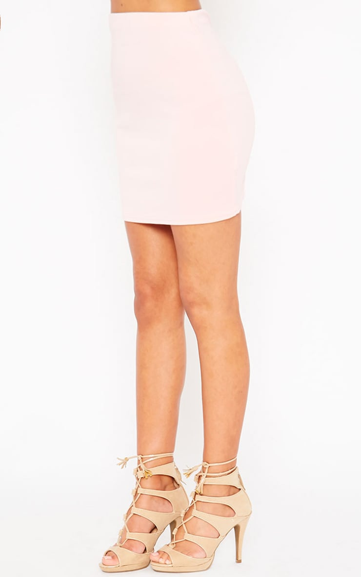 Basic Baby Pink Scuba Mini Skirt 3