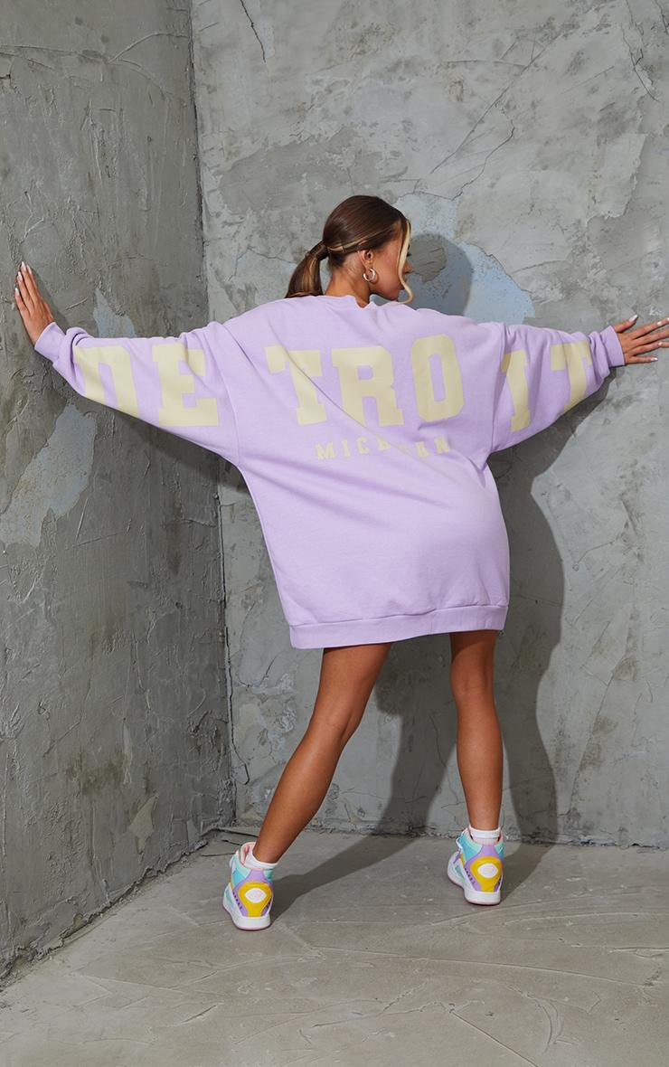 Lilac Detroit Michigan Slogan Sweatshirt Dress 1