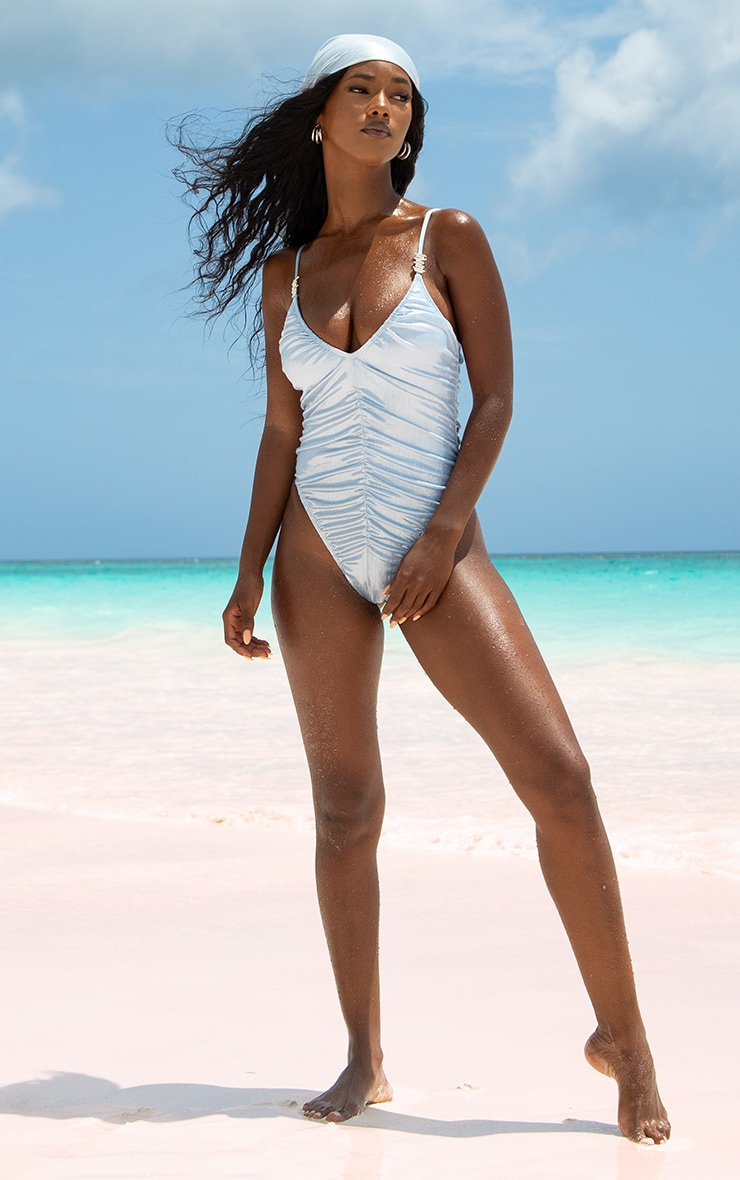 Baby Blue Shiny Textured Ruched Diamante Trim Swimsuit 3