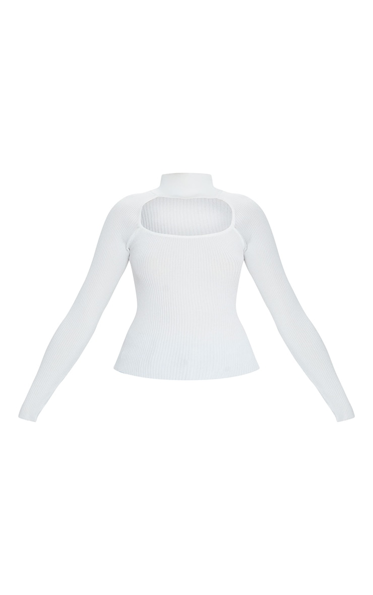 White Choker Neck Detail Knitted Long Sleeve Top 5