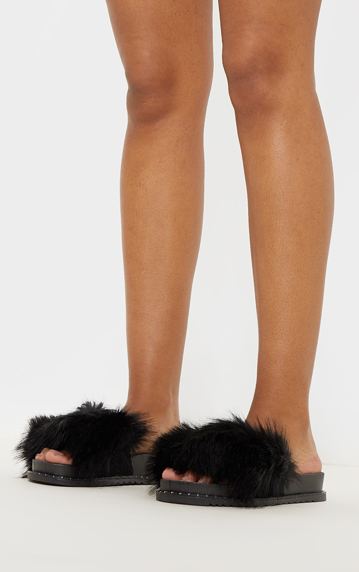 Black Faux Fur Studded Slides 2