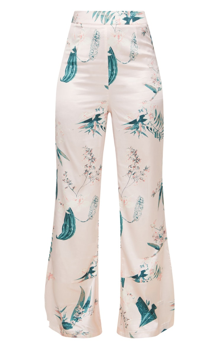 Blush Satin Floral Wide Leg Trousers 3