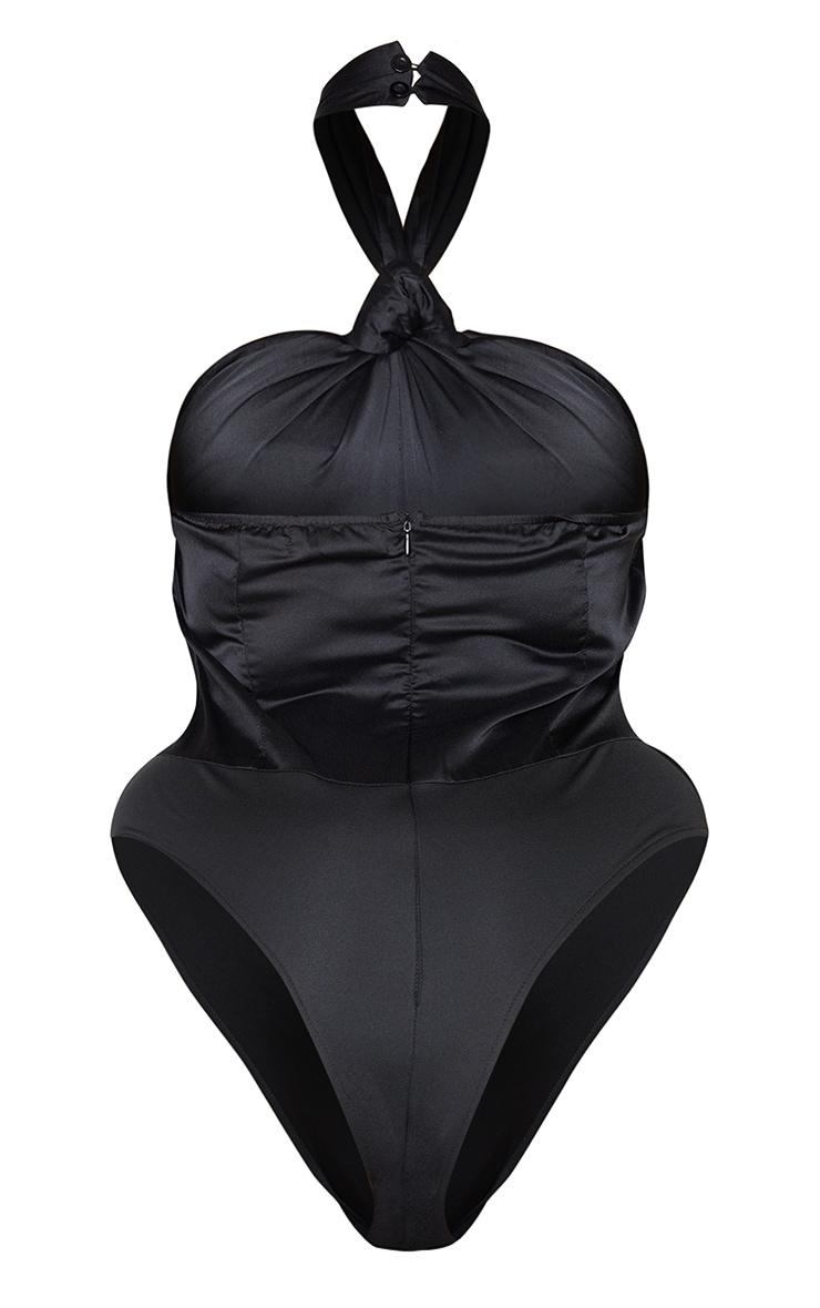 PLT Plus - Body satiné noir noué à dos nu 6