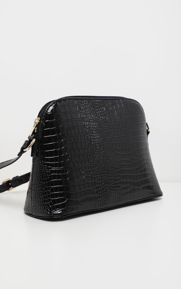 Black Croc Printed PU Cross Body 2