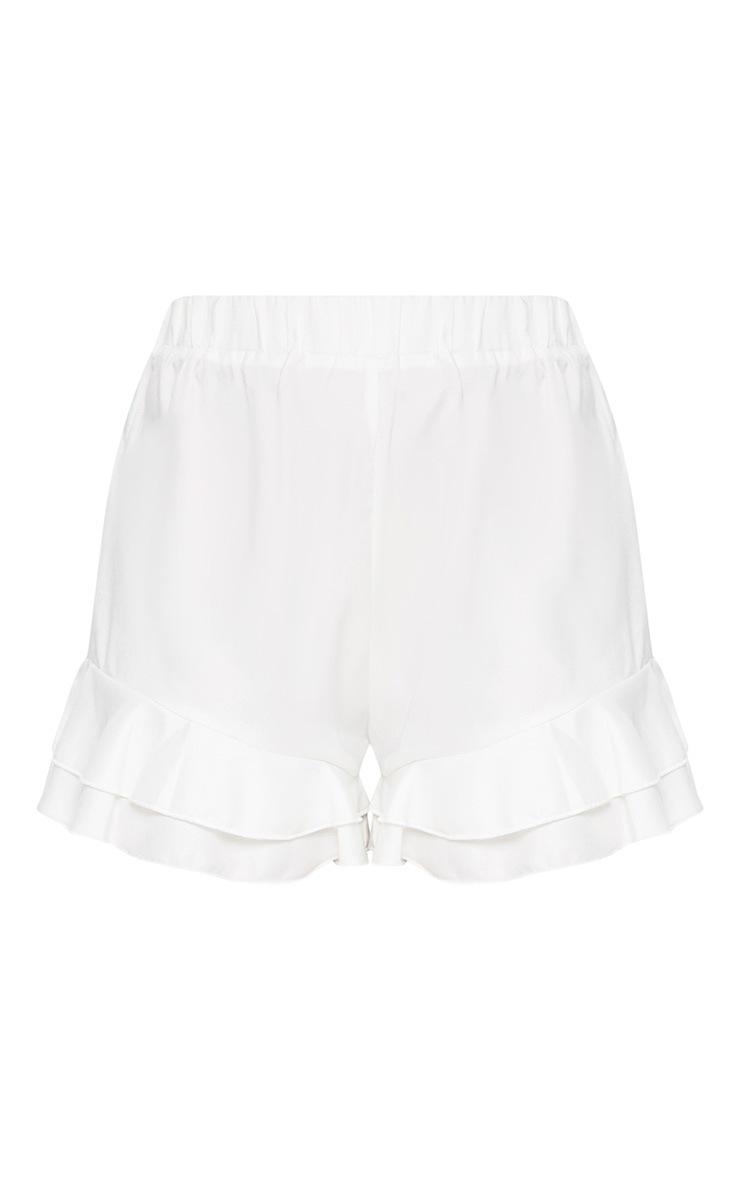 Petite White Frill Hem Shorts 3