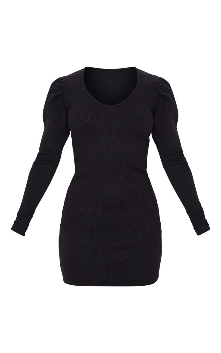 Petite Black Heavy Rib V Neck Puff Sleeve Mini Dress 3