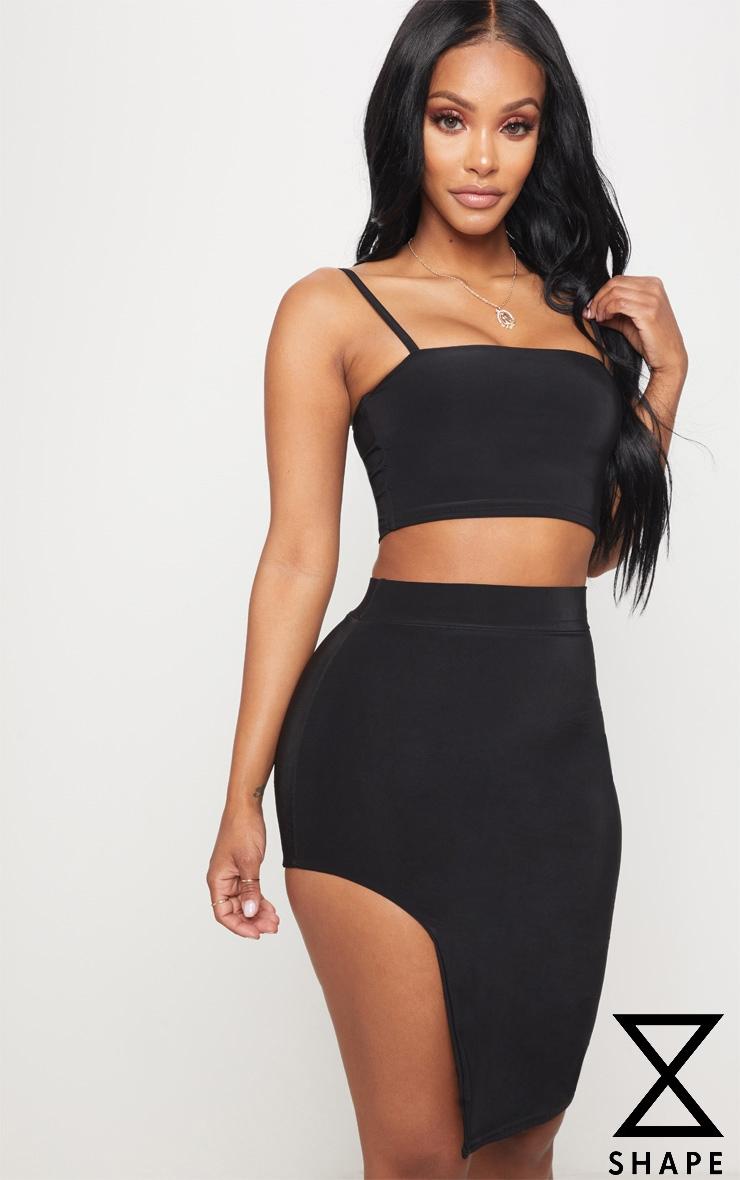 Shape Black Extreme Split Bodycon Skirt