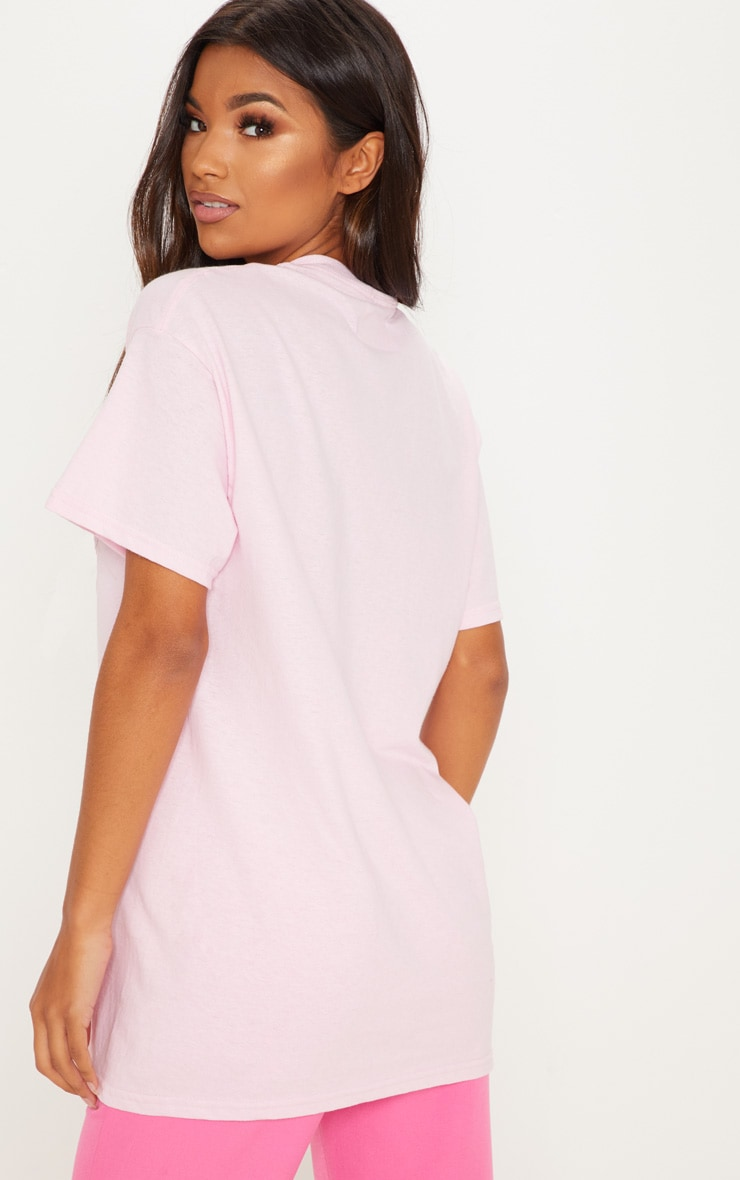 Baby Pink Overdressed Slogan Oversized T Shirt 2