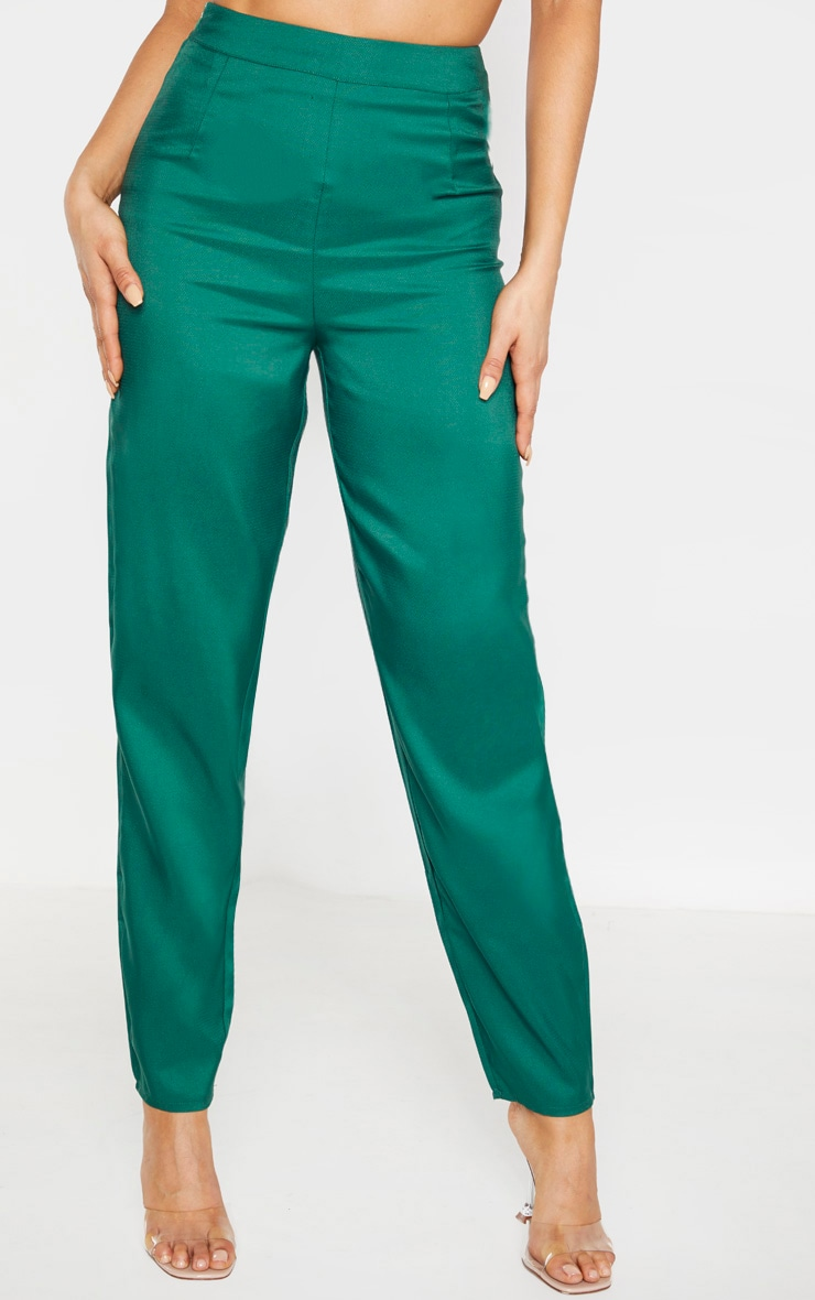 Tall Emerald Green Wide Leg Slim Cuff Suit Trousers 2