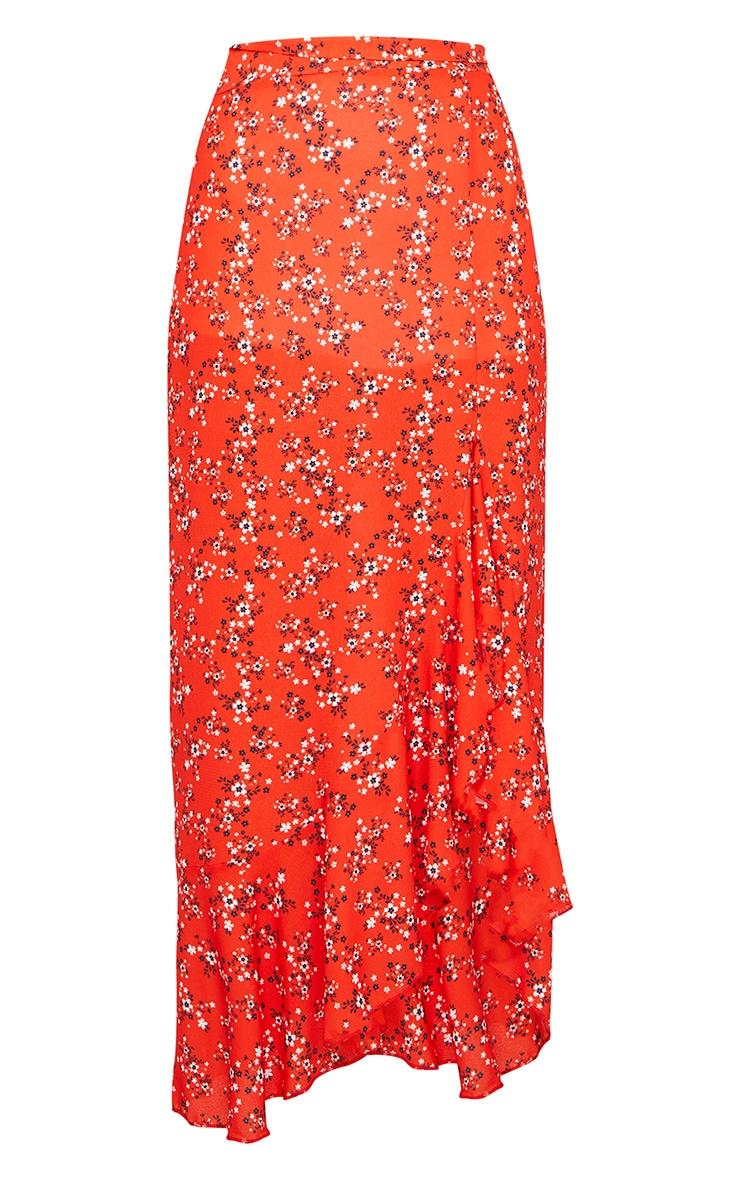 Red Ditsy Floral Frill Hem Wrap Maxi Skirt 5