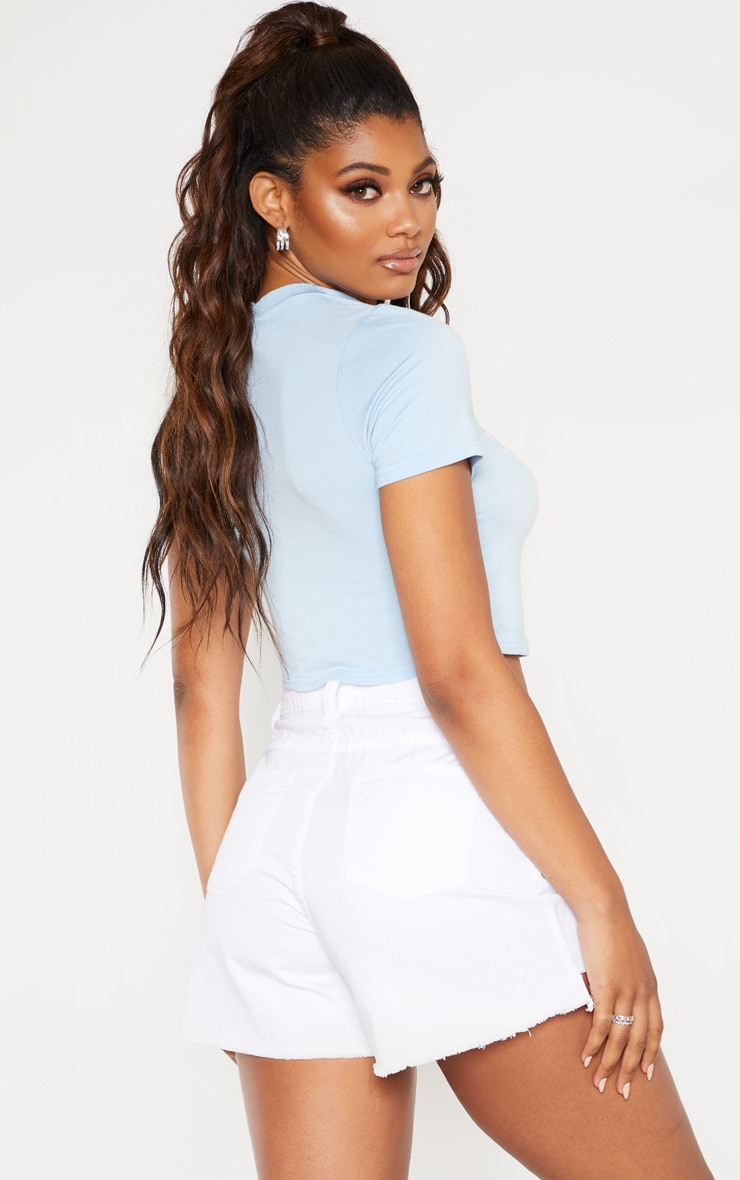 PRETTYLITTLETHING Tall Light Blue Cropped High Neck T Shirt 2