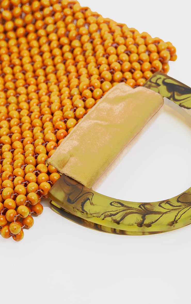 Orange Wooden Bead Resin Handle Bag 3