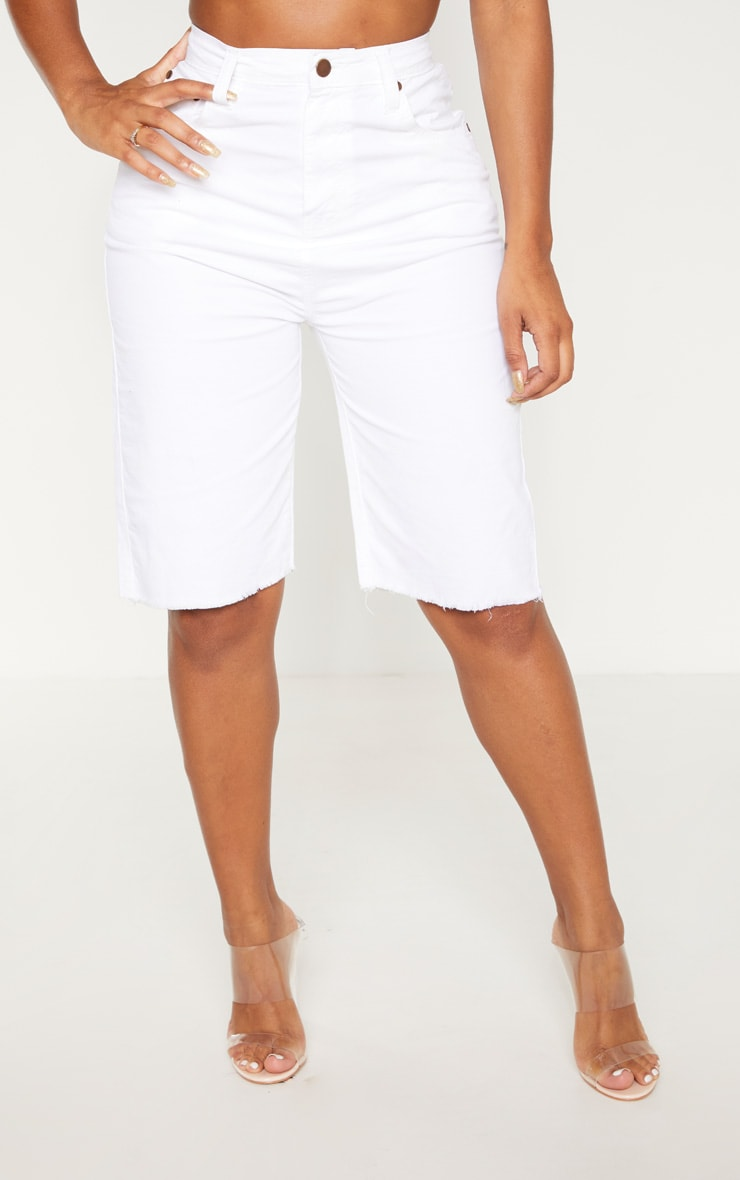 Shape White High Waisted Longline Denim Shorts 2