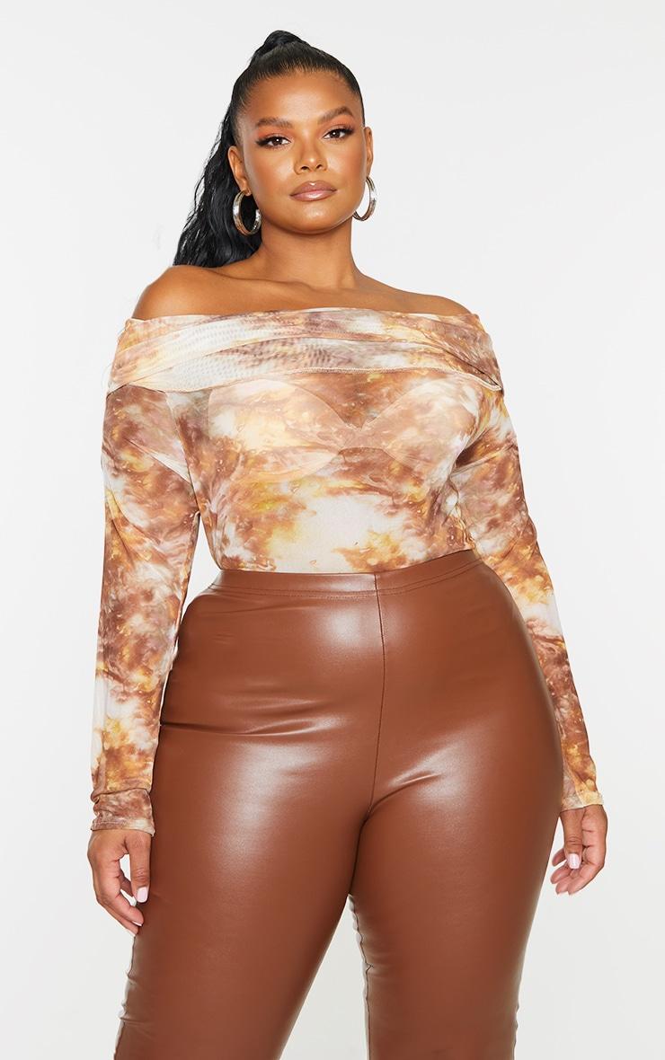 Plus Brown Tie Dye Print Mesh Bardot Bodysuit 1